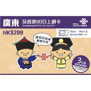 中国聯通香港 広東省&香港90日データSIM