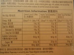 スタバ月餅2016栄養成分表
