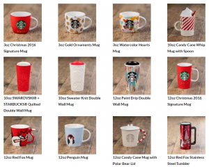Starbucks Hong Kong 2016 Xmas list
